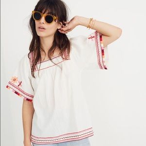 NWT-MadeWell Embroidered Sand Blossom Top